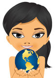 Asian little girl holding earth globe Royalty Free Stock Photo