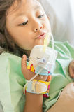 Asian Little Girl Hospital Patient with Infusion on Hand Stock Images