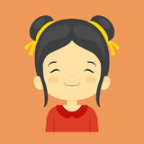Asian little girl laughing facial expression,. Cartoon vector illustrations isolated on orange background. Pretty little girl emoji laughing out load with Stock Photo