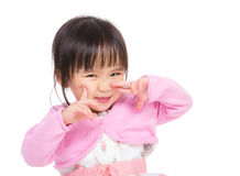 Asian little girl make funny face Royalty Free Stock Image