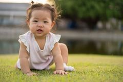 Asian little girl in the park. royalty free stock images