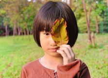 Asian little girl in the park, playing with leaf stock image