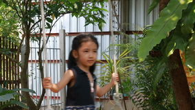 Asian little girl playing wooden swing with happiness slowmotion effect stock video