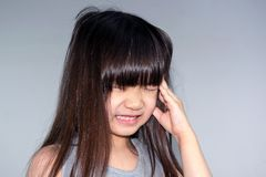 Child with Headache. Asian Little Girl with Reaction to a Splitting Headache Stock Images