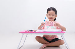 Asian little girl showing Thai baht banknote Stock Photography