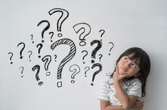 Free Asian Little Girl Thinking With Question Mark Stock Photography - 157240232
