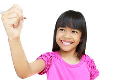 Asian little girl writing on empty screen Stock Images