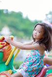 Asian little girls. Are having fun at the park stock photo