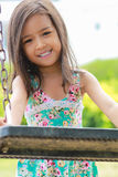 Asian little girls. Are having fun at the park stock images