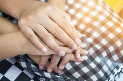 Asian little girls holding hands couple together show Relationsh. Ip between sister and familay, Love parents friendship concept Royalty Free Stock Images