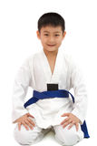 Asian Little Karate Boy in White Kimono Royalty Free Stock Photos