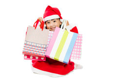 Asian Little Santa Claus with shopping bag Royalty Free Stock Photos