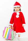 Asian Little Santa Claus with shopping bag Stock Photography
