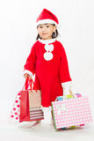 Asian Little Santa Claus with shopping bag Stock Image