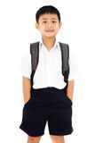 Asian Little School Boy with Backpack Royalty Free Stock Photo