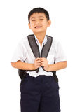 Asian Little School Boy with Backpack Stock Photos