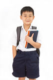 Asian Little School Boy Holding Books with Backpack. On White Background Stock Photos