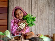 Asian little young girl look forward and smile among various types of vegetable also hold the radish behind hen on the table in stock images