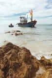 The asian local fishermen boat on the seaside in Mui Ne village, Vietnam stock photo
