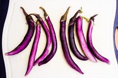Asian long aubergines Stock Photo