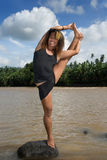 Asian longhaired dancer pose Stock Images