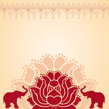 Asian lotus and elephant background Royalty Free Stock Image