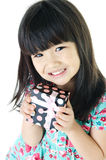 Asian Lovely girl with giftbox Stock Images