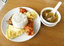 Asian lunch street food, nasi lemak Royalty Free Stock Photo
