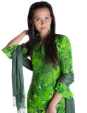 Asian Malay Woman In Green Dress II Royalty Free Stock Photos