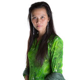 Asian Malay Woman In Green Dress IV Stock Photo