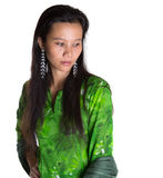 Asian Malay Woman In Green Dress VI Stock Photography