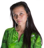 Asian Malay Woman In Green Dress VII Royalty Free Stock Photos