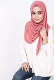 Asian Malay Woman Posing With Muslim Attire Royalty Free Stock Photo