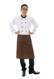 Asian male chef. Portrait of full body Asian male chef, standing isolated on white background stock photos