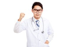 Asian male doctor angry hold fist up Royalty Free Stock Photos
