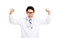Asian male doctor  happy with success Royalty Free Stock Images