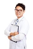 Asian male doctor hold a clipboard Royalty Free Stock Photos