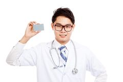 Asian male doctor show a card Royalty Free Stock Image