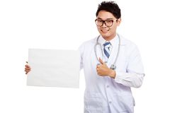 Asian male doctor thumbs up with blank sign Stock Photos