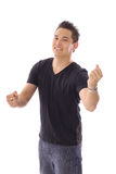 Asian male fist out vertical Royalty Free Stock Image