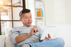 Asian male with hand pain Royalty Free Stock Photography