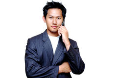 Asian male on the line stock images