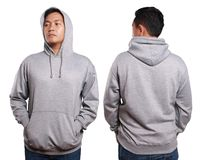 Asian male model wear plain grey long sleeved sweater sweatshirt. Blank sweatshirt mock up, front, and back view, isolated on white. Asian male model wear plain Royalty Free Stock Images