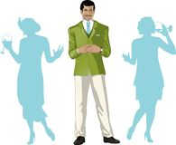 Asian male party host with female guests Royalty Free Stock Photo