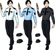 Asian male police officer holds taser Royalty Free Stock Photography