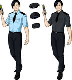 Asian male police officer holds taser Royalty Free Stock Images