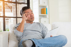 Asian male with sore eyes Stock Image