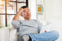 Asian male with sore eyes Royalty Free Stock Image
