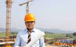 Asian man architect on location site Stock Image