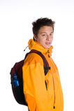 Asian man as hiker isolated against white Royalty Free Stock Photography